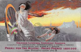 [DC5041] CARTOLINA - GRANDE LOTTERIA NAZIONALE ITALIANA - PREMI PER TRE MILIONI - Viaggiata - Old Postcard - Banks