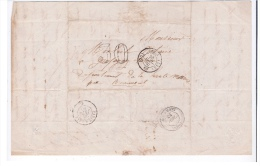 FRANCE - LETTRE PARIS BOURMONT BALE 1860 TAXEE 30 - 1853-1860 Napoleon III