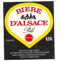 Ancienne étiquette Bière  D´Alsace  Pour Casino 0,25l Brasserie  Du Pecheur Schiltigheim - Bière