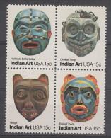 SERIE NEUVE DES ETATS-UNIS - MASQUES DES TRIBUS INDIENNES DE LA COTE DU PACIFIQUE N° Y&T 1294 A 1297 - American Indians