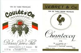 2 Etiquettes Chanteclerc Avec Coq Et Coulée D'Or - Galli