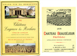 2 Etiquettes Chateau Beauséjour Fronsac 1979 Et Lagrave Rocher Cotes De Castillon 1992 - Galli