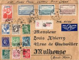 Lettre Colonies Française Algérie, Ecrit En Gothique Pour Mulhouse - Algeria (1924-1962)