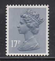 Great Britain MNH Scott #MH97 17p Machin, Blue Grey Single From #MH97g Double Line 'D' Underprint - Machins
