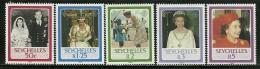 "Seychelles        ""Queen Elizabeth""      Set      SC# 592-96    MNH** - Seychelles (1976-...)"