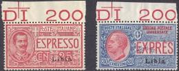 REGNO D'ITALIA - 1915 - COLONIA LIBIA - ESPRESSI 25 C. E 30 C. - CATALOGO SASSONE E1/2 - NUOVI ** MNH - Libya