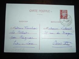 CP ENTIER PETAIN 1F20  Datée 24-12-1942 OBL. 25-12 (année Caviardée) LUYNES INDRE ET LOIRE (37) - Marcophilie (Lettres)