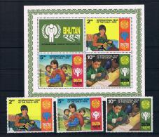 Bhutan 1979 Kinder Mi.Nr. 728/30 Kpl. Satz + Block 83 ** - Bhoutan