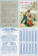 RARO Calendarietto Antico LA NUOVA MILANO, 1891 Lit. Berardi, CROMOLITOGRAFIA - OTTIMO STATO - Formato Piccolo : ...-1900