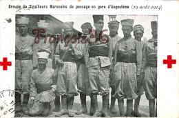 (16) - Angoulême - Groupe De Tirailleurs Marocains De Passage En Gare D' Angoulême (19 Août 1914) - 2 SCANS - Angouleme