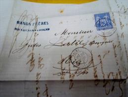 1877, Lettre De Banquiers A Digne Banon Frères  Pour Latil A Riez , Cachet Départ Et Arrivée - Postmark Collection (Covers)