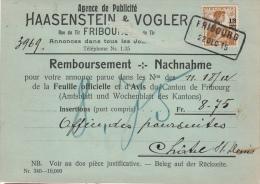 Haasenstein & Vogler, Fribourg 22.12.1915, Remboursement Chatel-St-Denis N° 133. Ch. De Fer - Switzerland