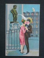 Ref3714 BP CPA Gaufrée Bruxelles Manneken-Pis - Refroidissement Inattendu -  Deux Amoureux à Côté D'une Fontaine N°11061 - Humour