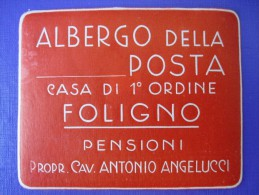HOTEL ALBERGO PENSIONE NO POSTA FOLIGNO ITALIA ITALY TAG STICKER DECAL LUGGAGE LABEL ETIQUETTE AUFKLEBER - Hotel Labels
