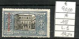 1924 TRIPOLITANIA MANZONI L. 1 Nuovo * MLH - Tripolitania
