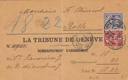 La Tribune De Genève, Remboursement / Affr. Complémentaire N° 83 Et 84. C. Arr. Rolle - Switzerland