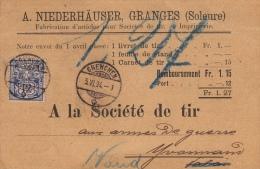 A. Niederhäuser, Granges, Soleure / A La Société De Tir / Lausane 1894, Grenchen, Yvonand - 1882-1906 Coat Of Arms, Standing Helvetia & UPU