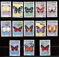 (cl 32 - P6) Ouganda ** N° 607 à 619 - Papillons - - Uganda (1962-...)
