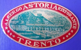HOTEL ALBERGO PENSIONE NO ASTORIA TRENTO ITALIA ITALY TAG DECAL STICKER LUGGAGE LABEL ETIQUETTE AUFKLEBER - Hotel Labels