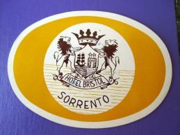 HOTEL ALBERGO PENSIONE NO BRISTOL SORRENTO ITALIA ITALY TAG DECAL STICKER LUGGAGE LABEL ETIQUETTE AUFKLEBER - Hotel Labels