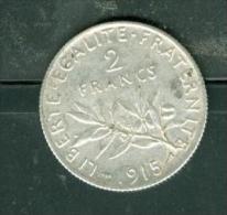 piece 2 francs semeuse  argent ann�e 1915 - pia9601