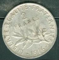 piece 2 francs semeuse argent silver  1916 - pia9702