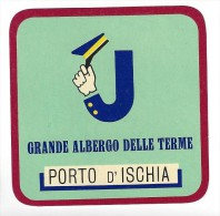 HOTEL ALBERGO PENSIONE CAMPING JOLLY PORTO DE ISCHIA ITALIA ITALY TAG DECAL STICKER LUGGAGE LABEL ETIQUETTE AUFKLEBER - Hotel Labels
