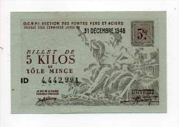 Bon De Matière - Tôle Mince 5Kg - CCETR - 1948 - Filigrané - Bons & Nécessité