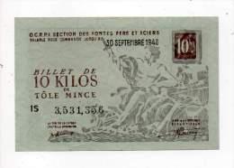 Bon De Matière - Tôle Mince 10Kg - CCETR - 1948 - Filigrané - Bons & Nécessité