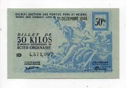 Bon De Matière - Acier Ordinaire 50Kg - CCETR - 1948 - Filigrané - F. P. B. Paris - Bons & Nécessité