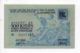 Bon De Matière - Acier Ordinaire 100Kg - CCETR - 1948 - Filigrané - Bons & Nécessité