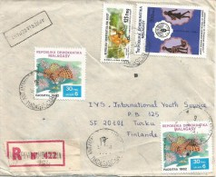 Madagascar 1984 Antananarivo Lemur Ape Monkey FAO Fish Registered Cover Apres Le Depart Handstamp - Madagaskar (1960-...)