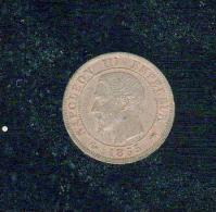 Jolie 1c Napoléon Tête Nue  Bronze  1855 D - Francia