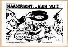 A5526 Tirage N°32/50ex! Politique Satirique MAASTRICHT BIEN VU FAFA MITTERRAND FABIUS EUROPE Traité 05.1992 - LARDIE - Satira