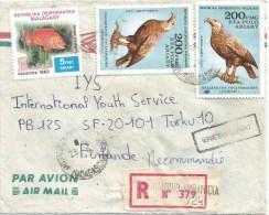 Madagascar 1985 Antananarivo Ambanidia Eagle Bird Of Prey Fish Registered Cover Apres Le Depart Handstamp - Madagaskar (1960-...)