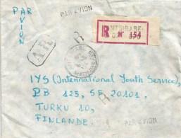 Madagascar 1984 Antsirabe Space Sputnik Flower AR Advice Of Receipt Registered Cover - Brieven & Documenten