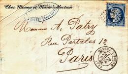 1874 LAC N° 60 A GC 2714 PATRY RUE PORTALES PARIS OISSEL SUR SEINE NEVEU FILATEUR - Marcophilie (Lettres)
