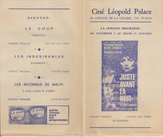 CINE LEOPOLD PALACE (Bruxelles) -  Film 'JUSTE AVANT LA NUIT' (1971) Et Autres. - Cinema Advertisement