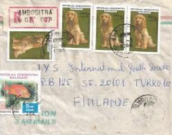Madagascar 1985 Ambositra Cocker Spaniel Dog Fish Registered Cover - Madagaskar (1960-...)