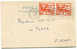 JERSEY OCCUPATION ALLEMANDE CARTE DU VICTORIA CLUB AFFRANCHIE AVEC UNE PAIRE DU N°4 OBLITERATION JERSEY 1 JUN 1943 - Jersey