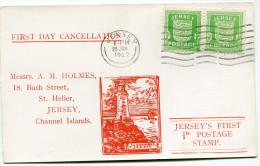 JERSEY OCCUPATION ALLEMANDE CARTE 1er JOUR AFFRANCHIE AVEC UNE PAIRE DU N°1 OBLITERATION JERSEY 29 JAN 1942 - Jersey