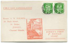 JERSEY OCCUPATION ALLEMANDE CARTE 1er JOUR AFFRANCHIE AVEC UNE PAIRE DU N°1 OBLITERATION JERSEY CHANNEL ISLANDS 29 JA 42 - Jersey