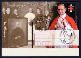 """2014 POLONIA """"BEATIFICAZIONE PAPA PAOLO VI"""" INTERO POSTALE ANNULLO PRIMO GIORNO - Stamped Stationery"""