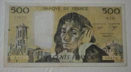 500 Frs Pascal B111 TTB - 1962-1997 ''Francs''