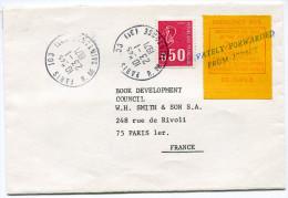 JERSEY LETTRE GREVE DE 1971 AFFRANCHISSEMENT TIMBRE DE FRANCE + TIMBRE DE GREVE SURCHARGE PRIVATELY FORWARDED FROM ..... - Jersey
