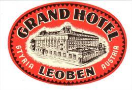 ETIQUETA DE HOTEL  -  GRAND HOTEL LEOBEN   -STYRIA  -AUSTRIA - Etiquettes D'hotels