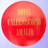 HOTEL ALBERGO PENSIONE CAMPING NO CALEIDOSCOPIO AMALFI ITALIA ITALY DECAL STICKER LUGGAGE LABEL ETIQUETTE AUFKLEBER - Hotel Labels