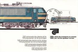 Trein, Trains, Locomotive, Tram: Belgie 1985 Mi Nr Blok 55 - Trains