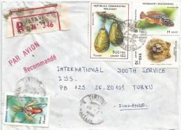 Madagascar 1994 Tamatave Ornamental Fish Flower Chow Chow Dog Advocat Registered Cover - Madagaskar (1960-...)