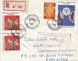 Madagascar 1983 Analalava Orchid Flower FAO Women Registered Cover Communication Handstamp - Madagaskar (1960-...)